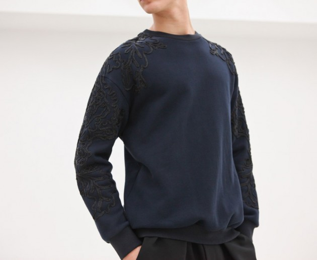 3.1 phillip lim pull over sweat shirt floral flower men mans manly spring 2013 runway designer y-3 adidas opening ceremony ann demeulemeester balenciaga shirt pants trousers
