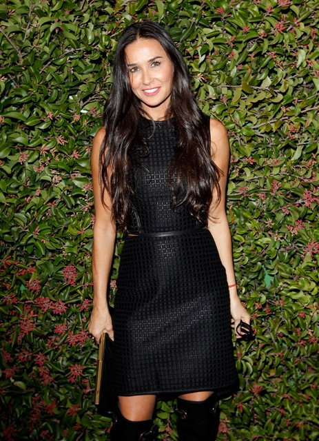Demi Moore in Ferragamo attends Ferragamo presents Spring Runway Collection with VIP dinner, hosted by Jacqui Getty and Harpers BAZAAR at Chateau Marmont on January 24, 2013 in Los Angeles, California.