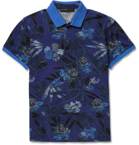 Etro Printed Cotton Blend Pique Polo Shirt Reclaimed Vintage varsity jacket floral flower men mans spring 2013 trend trendy hip balenciaga phillip lim ann demeulemeester top man adidas y-3 opening ceremony sneakers pants tops shirts