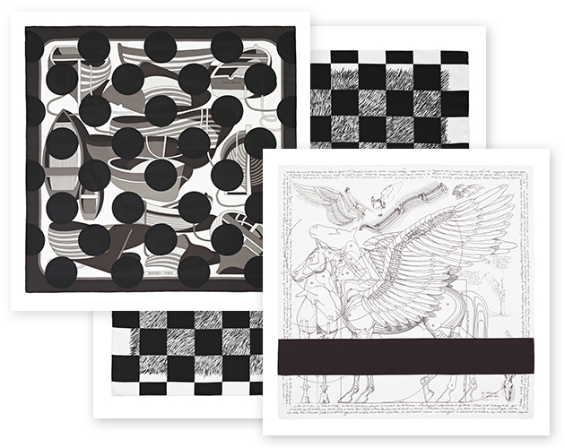 comme des carres black and white colour hermes comme des garcons rei kawakubo limited edition scarf scarves silk twill dover street market bali garret sale purchase price