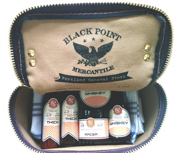 portland general store Black Point Mercantile Rogues Gallery Whiskey aftershave Whiskey shave soap racer shave cream thick shampoo thick conditioner paraben free sulfate free sea mineral all natural leather canvas vintage men's grooming travel dopp kit TSA approved gift ideas