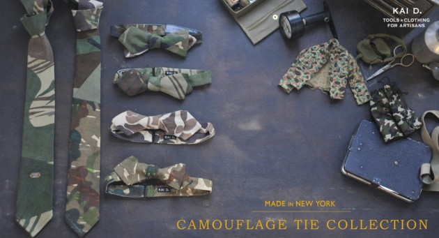 Kai D Camouflage Tie collection made in america usa new york history rugged masculine elegant